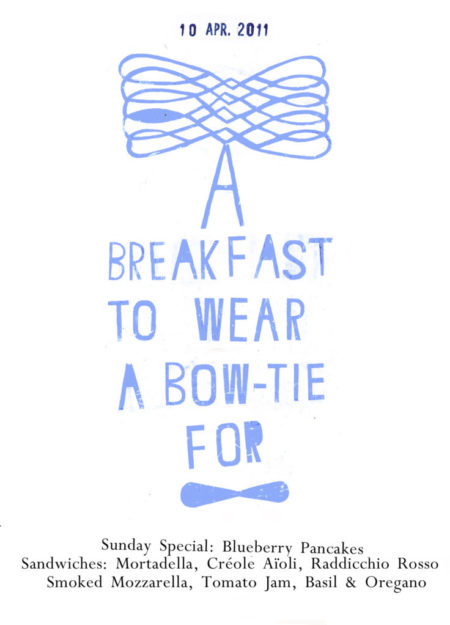 a breakfast to wear a bow-tie for